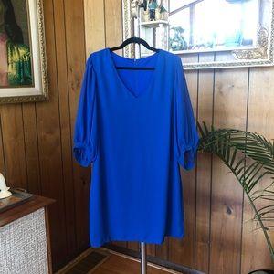 Bright Blue V-neck Mini Dress